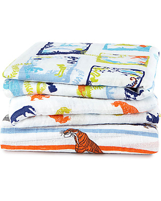 Aden & Anais Multi-use Muslin Cloths, Jungle Book - 3 pack - 100% cotton muslin - 70 x 70 cm Muslin Cloths