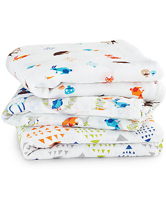 Aden & Anais Multi-use Muslin Cloths - Paper Tales - 3 pack - 100% cotton muslin - 70 x 70 cm Muslin Cloths