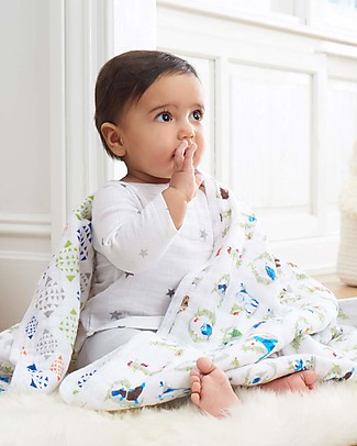 Aden & Anais Multi-use Muslin Cloths - Paper Tales - 3 pack - 100% cotton muslin - 70 x 70 cm Muslin Cloths