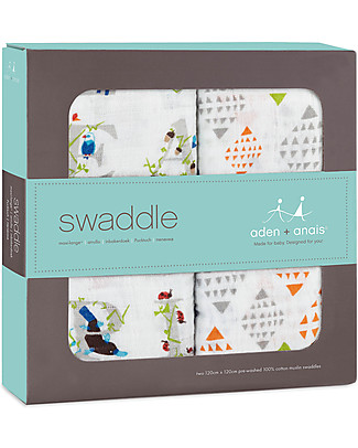 Aden & Anais Multi-use Swaddles - Paper Tales - 2 Pack - 100% Cotton Muslin Swaddles