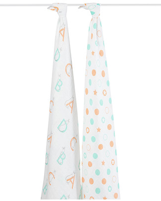 Aden & Anais Pat The Bunny Multi-use Swaddles - Limited Edition - 2 pack 100% cotton muslin Swaddles