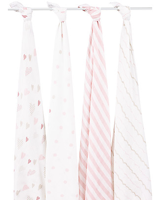 Aden & Anais Pink Classic Swaddles Set of 4 Multi-use 100% Cotton Muslin Swaddles