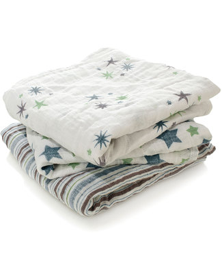 Aden & Anais Prince Charming Musy - Multiuse Muslin Cloths - 3 pack - 100% cotton muslin - 70 x 70 cm Muslin Cloths