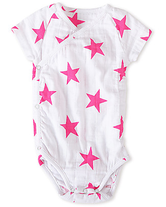 Aden & Anais Shocking Pink - Medium Star - Short Sleeve Kimono Bodysuit - Cotton Muslin! Short Sleeves Bodies