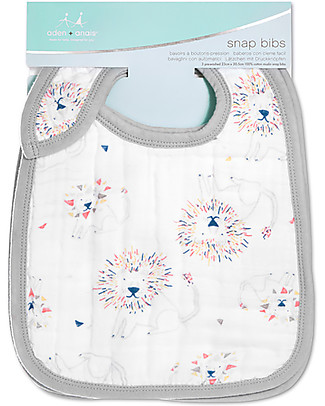 Aden & Anais Snap Bibs Lions - 3 Pack 100% cotton muslin (super soft and absorbent) Snap Bibs