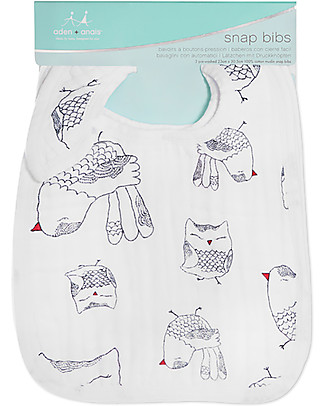 Aden & Anais Snap Bibs Love Bird - 3 Pack 100% cotton muslin (super soft and absorbent) Snap Bibs