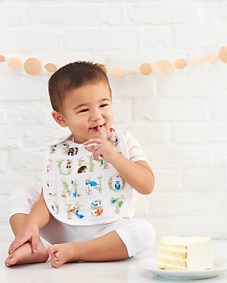 Aden & Anais Snap Bibs Paper Tales - 3 Pack 100% cotton muslin (super soft and absorbent) Snap Bibs