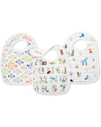 Aden & Anais Snap Bibs Paper Tales - 3 Pack 100% cotton muslin (super soft and absorbent) Snap Bibs