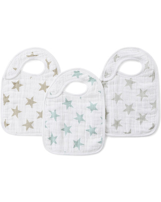 Aden & Anais Stardust Snap Bibs - 3 Pack 100% cotton muslin (super soft and absorbent) Snap Bibs