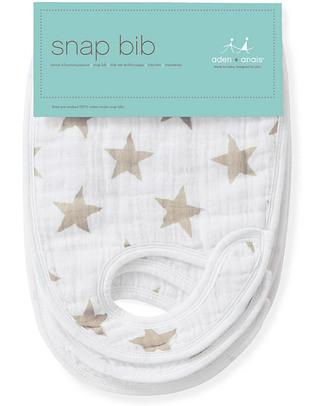 Aden & Anais Stardust Snap Bibs - 3 Pack 100% cotton muslin (super soft and absorbent) Snap Bibs