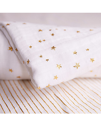 Aden & Anais Swaddles 3 Pack 120x120 cm - Gold Metallic Collection - 100% Cotton Muslin Swaddles