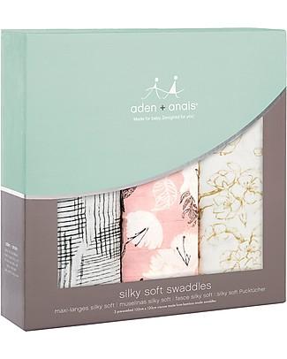 Aden & Anais Swaddles 3 Pack 120x120 cm - Pretty Petals  - 100% Cotton Muslin Swaddles