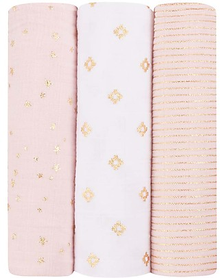 Aden & Anais Swaddles 3 Pack 120x120 cm - Primrose/Gold Metallic Collection  - 100% Cotton Muslin Swaddles