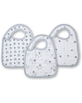 Aden & Anais Twinkle Snap Bibs - 3 Pack - 100% Cotton Muslin (soft and absorbant) Snap Bibs