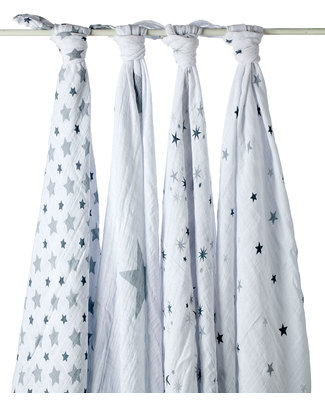 Aden & Anais Twinkle Star Multi-use Swaddles - Set of 4 -100% Cotton Muslin Swaddles