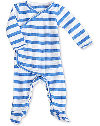 Aden & Anais Ultramarine Stripes Long Sleeve Kimono One-Piece - Cotton Muslin! Babygrows