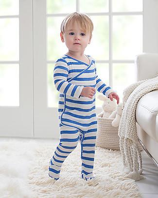 Aden & Anais Ultramarine Stripes Long Sleeve Kimono One-Piece - Cotton Muslin! Babygrows