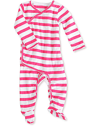 Aden & Anais Vibrant Pink Stripes Long Sleeve Kimono One-Piece - Cotton Muslin! Babygrows