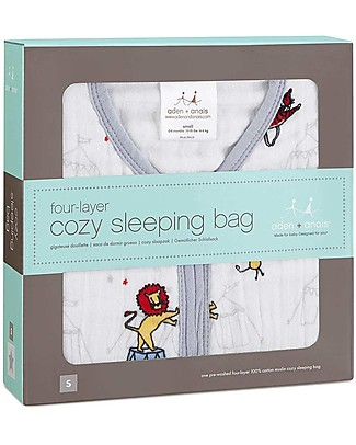 Aden & Anais Vintage Circus Cozy Sleeping Bag 1.7 TOG - 4 layers of 100% Cotton Muslin (for cooler nights) Light Sleeping Bags