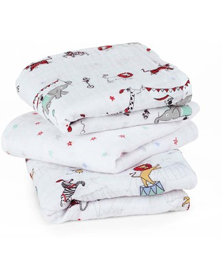 Aden & Anais Vintage Circus Musy - Multiuse Muslin Cloths - 3 pack - 100% cotton muslin - 70 x 70 cm Muslin Cloths