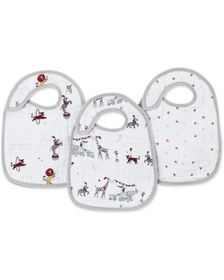 Aden & Anais Vintage Circus Snap Bibs - 3 Pack 100% cotton muslin (super soft and abosrobant) Snap Bibs