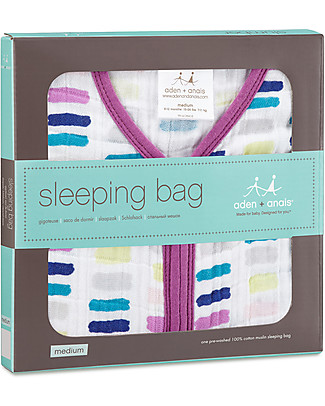 Aden & Anais Wink Cozy Sleeping Bag - 1.7 TOG - 4 layers of 100% Cotton Muslin (for cooler nights) Light Sleeping Bags
