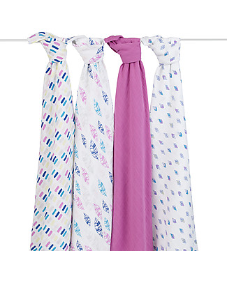 Aden & Anais Wink Multi-use Swaddles - Set of 4 -100% Cotton Muslin Swaddles