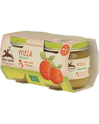 Alce Nero Homogenised of Organic Apple, 2 Jars - 100% Italian fruits Baby Food