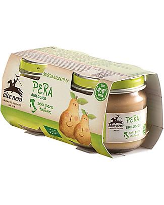 Alce Nero Homogenised of Organic Pear, 2 Jars - 100% Italian fruits Baby Food