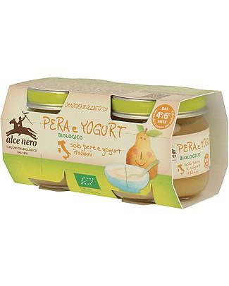Alce Nero Homogenised of Organic Pear and Yogurt, 2 Jars - 100% Italian fruits Baby Food