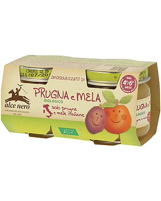 Alce Nero Homogenised of Organic Plum and Apple, 2 Jars - 100% Italian fruits Baby Food