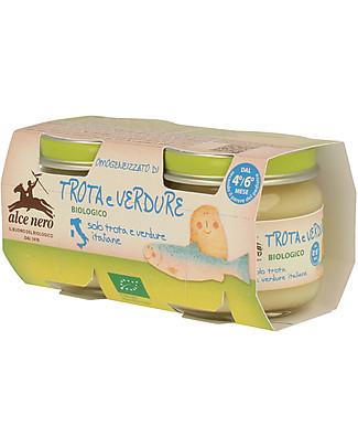 Alce Nero Homogenised of Organic Trout with Vegetables, 2 Jars - 100% Italian ingredients Baby Food