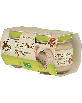 Alce Nero Homogenised of Organic Turkey, 2 Jars - 100% Italian meat Baby Food
