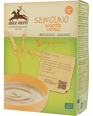 Alce Nero Organic Semolina Wheat, 250 gr - 100% Italian ingredients Baby Cereal