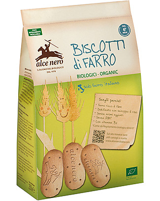 Alce Nero Organic Spelt Biscuits, 250 gr - Withour palm oil Biscuits