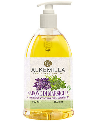 Alkemilla Organic Liquid Soap, Marseille, Lavender of Provence with Vitamin E - 500 ml Detergents