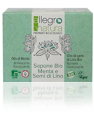 Allegro Natura Mint and Flaxseed Oil Organic Soap, 100 gr - Nourishes and Refreshes skin Detergents