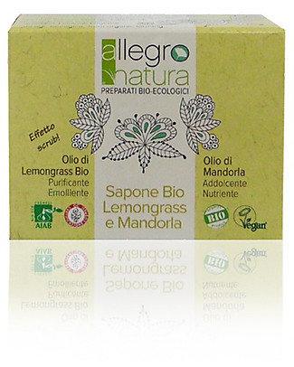 Allegro Natura Organic LEmongrass Soap and Almond Scrub, 100 gr - Natural Scrub Detergents