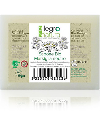 Allegro Natura Organic Neutral Marseille Soap, 200 gr - For Laundry and Personal Hygiene Detergents