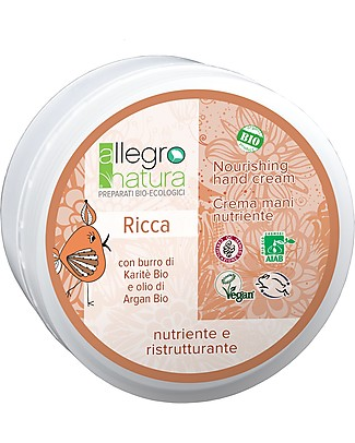 Allegro Natura Rich Hand Cream with Argan Oil and Shea Butter, 50 ml - Nourishing and Regenerating Body Lotions And Oils
