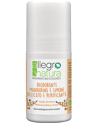 Allegro Natura Roll-on Deodorant Red Mandarin and Lemon, 50 ml - Sensitive and Purifying Deodorant