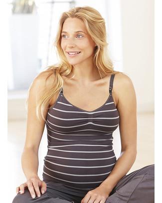 Amoralia Maternity & Nursing Seamless Cami - Grey Stripes Vests