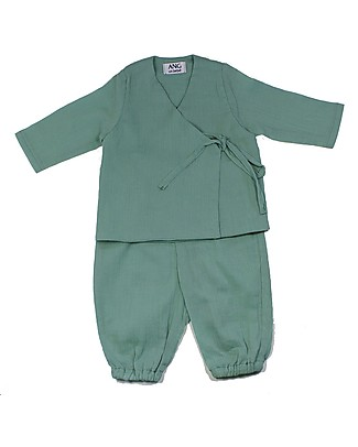 ANG un bebé Gabri Kimono Shirt and Pants Suit, Green - 100% cotton Sets And Co-Ords