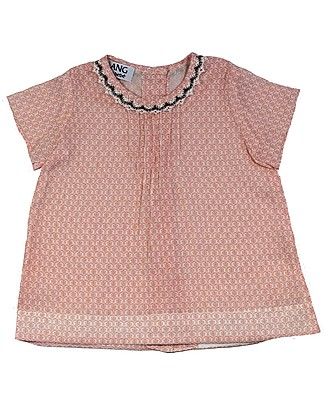 ANG un bebé Isotta Tunic Dress with Lace Neckline, Pink Flowers - 100% cotton Dresses