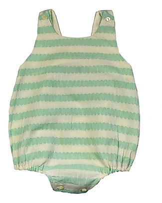 ANG un bebé Sleeveless One Piece Vinci, White/Green Scales - 100% cotton Dungarees