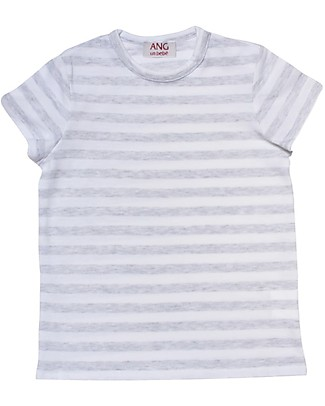 ANG un bebé Striped T-shirt, White/Grey - 100% cotton T-Shirts And Vests