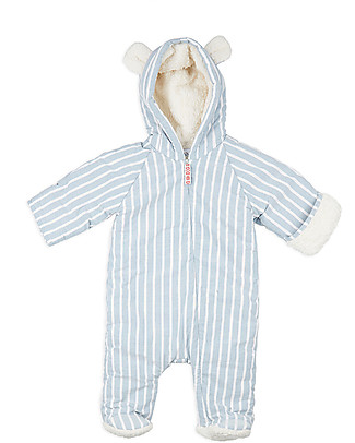 Annaliv Little Grow Padded and Warm, Berry White+Blue Stripes - 100% organic cotton lining Snowsuits