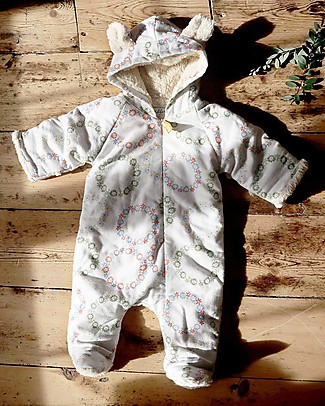 Annaliv Little Grow Padded and Warm, Winter Blomst - 100% organic cotton lining Babygrows