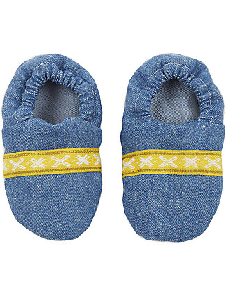 Annaliv Organic Cotton Booties in a Box, Denim – Wooden gift box included! Shoes