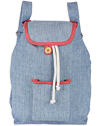 Annaliv Pure Natural Cotton Kids Backpack, Blue & Red - 1+ years! Small Backpacks